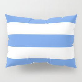 United Nations blue - solid color - white stripes pattern Pillow Sham