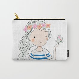 Cute girl and butterfly. Enjoy summer Carry-All Pouch