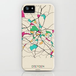 Colorful City Maps: Dresden, Germany iPhone Case