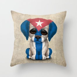 Cute Puppy Dog with flag of Cuba Throw Pillow
