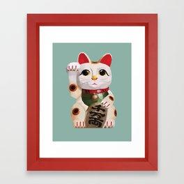 Maneki Neko (Fortune Cat) Polygon Art Framed Art Print