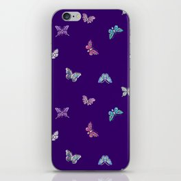 Christmas Butterfly Ornaments on purple iPhone Skin