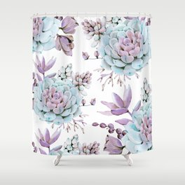 Turquoise and Violet Succulents Shower Curtain