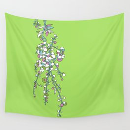 1950s / 1960s Retro Floral Flower Stem Pattern Wall Tapestry