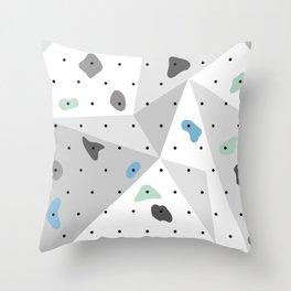 Abstract geometric climbing gym boulders blue mint Throw Pillow