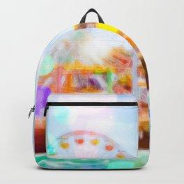 Santa Monica pier, California, USA with colorful bokeh abstract Backpack