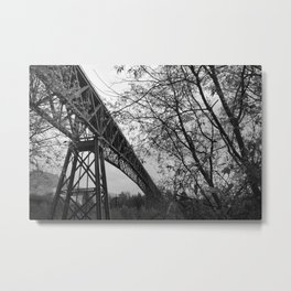 Eiffel. The mystery train bridge. BW Metal Print