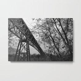 Eiffel. The mystery train bridge. BW Metal Print
