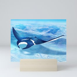 The giant devil ray in rays of the sun Mini Art Print