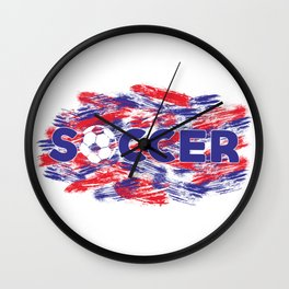 Soccer Red, White and Blue Wall Clock