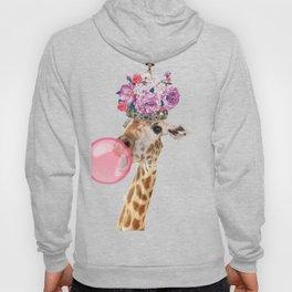 Giraffe in crown of flowers Hoody
