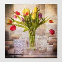 tulips Canvas Prints featuring Tulips by Fine Art by Rina