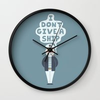 captain Wall Clocks featuring Indifferent Captain by Teo Zirinis