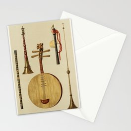 Saimisen, Kokiu and Biwa (1888) by William Gibb (1839-1929), a chromolithograph of a traditional mus Stationery Cards