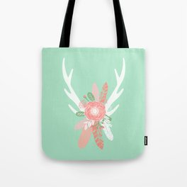 Deer antler florals flower bouquet with antlers minimal boho nursery art decor Tote Bag