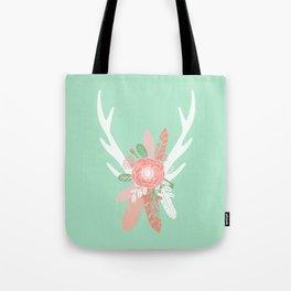 Deer antler florals flower bouquet with antlers minimal boho nursery art decor Tote Bag