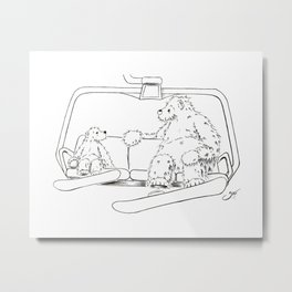 Snowboarding Bears on a Chair Metal Print