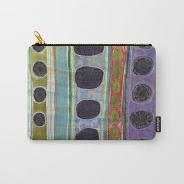 Dominating Black Round Shapes In Horizontal Stripes   Carry-All Pouch