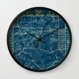 Vintage Lost Villages of Scituate, Rhode Island Map before flooding of Scituate Reservoir Wall Clock