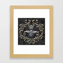 Elegant Black & Gold Damask Bee Framed Art Print