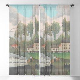 Henri Rousseau - The Laundry Boat of Pont de Charenton Sheer Curtain