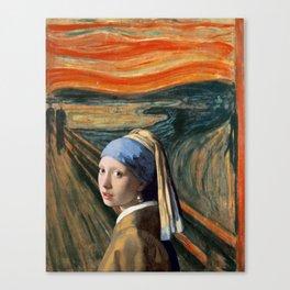 The Scream of Pearl Earring Girl Canvas Print