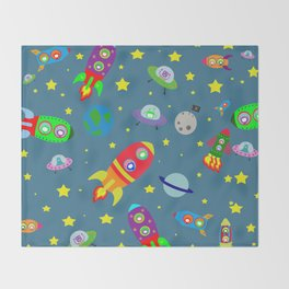 Rockets to the moon Throw Blanket
