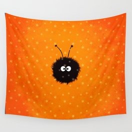 Orange Cute Dazzled Bug Winter Wall Tapestry
