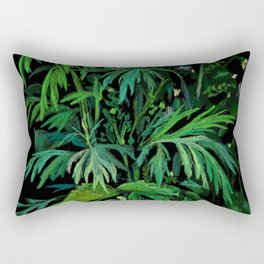 Green and Black, Summer Greenery Rectangular Pillow