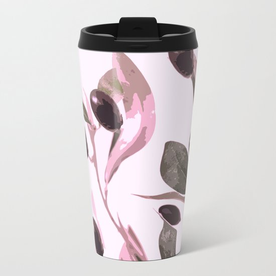 Olive tree branch with pink tones on white background Metal Travel Mug