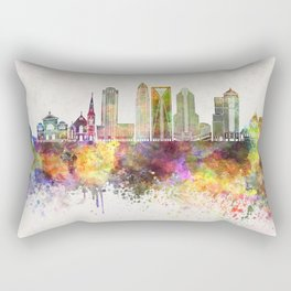 Charlotte skyline in watercolor background Rectangular Pillow