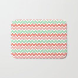 Coral Orange and Peach Pink and Mint Green Chevron Bath Mat