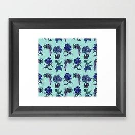 Botanical Flower Pattern | Blue Framed Art Print