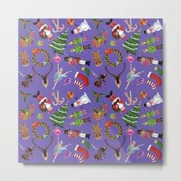 The Elements of Christmas (Pattern) (Purple) Metal Print