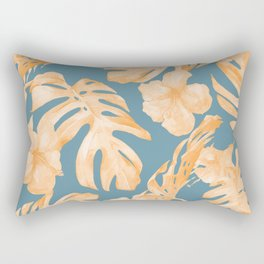 Island Hibiscus Palm Coral Teal Blue Rectangular Pillow