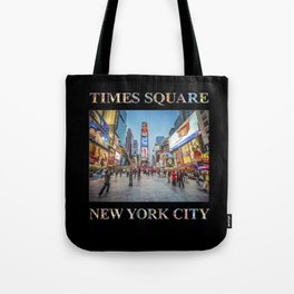 Times Square Sparkle (with type on black) Tote Bag
