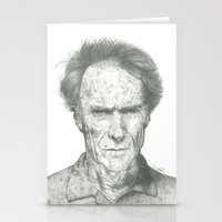 clint eastwood Stationery Cards featuring Clint Eastwood by theMAINsketch
