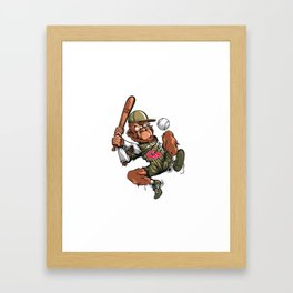 Baseball Monkey - Teak Framed Art Print