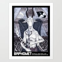 baphomet Art Prints featuring Baphomet by madbaumer37