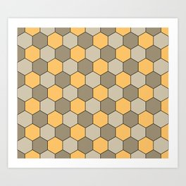 Honeycombs op art beige Art Print