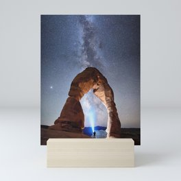 Starry Night Pointer at Milky Way Night sky in Moab Arches National Park  Utah USA  Mini Art Print