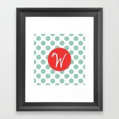 Monogram Initial W Polka Dot Framed Art Print