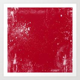 red dark raspberry white splat splatter splash colour palette Art Print