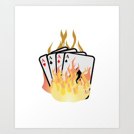 Poker card game Skat poker evening flames diamond cards Art Print