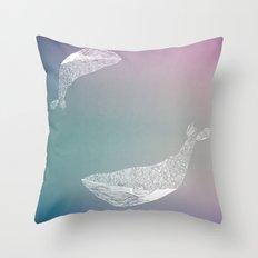 fogged film whale Throw Pillow