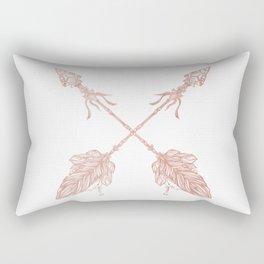 Tribal Arrows Rose Gold on White Rectangular Pillow