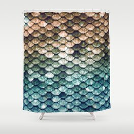 Mermaid Tail Teal Ocean Shower Curtain