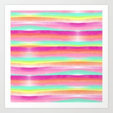 Modern bright pastel pink turquoise yellow rainbow hand painted summer watercolor stripes pattern Art Print