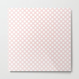 Vintage pastel pink white stylish polka dots pattern Metal Print
