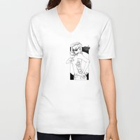 tatoo V-neck T-shirts featuring tatoo tanga & cigarette by kingsimon